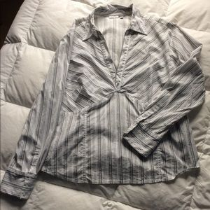 Semantics Black and Gray Striped Blouse